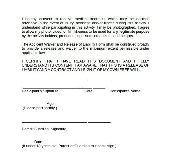 Basic Liability Waiver Form, generic release form. school media ...