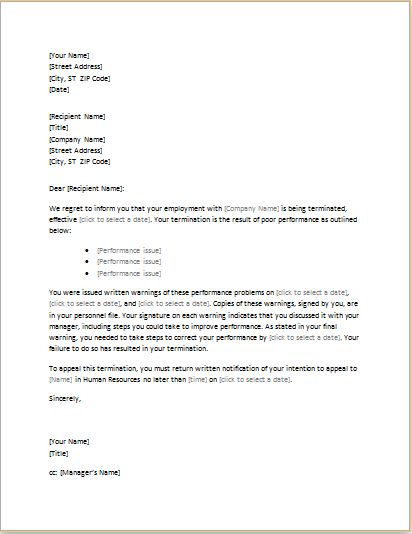 Letter of Termination due to Poor Performance Word Document | Word ...