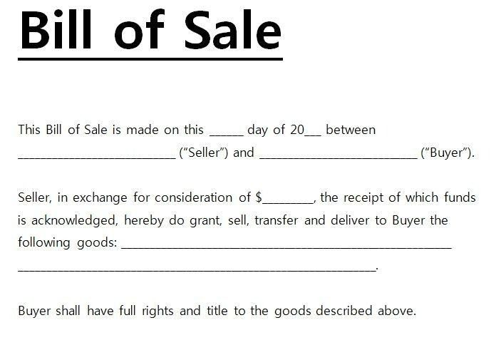 Printable General Bill Of Sale - gameshacksfree