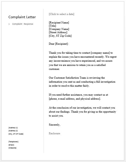 Sample Complaint Response Letter – Free Sample Letters