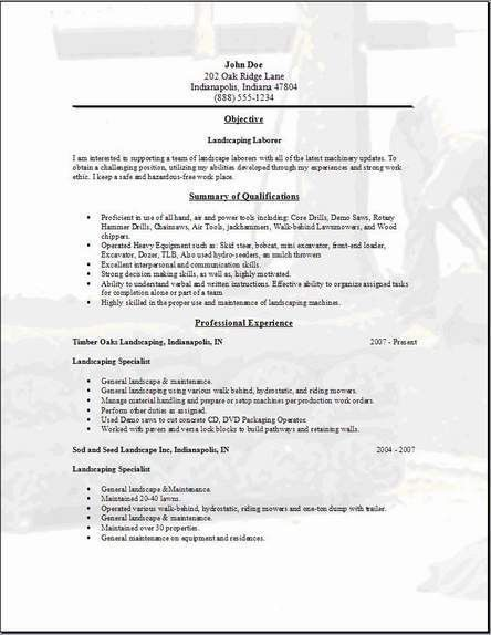 Landscaping Resume, Occupational:examples,samples Free edit with word