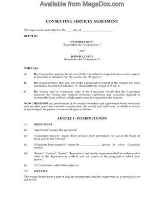 Consulting Contract Forms | Legal Forms and Business Templates ...