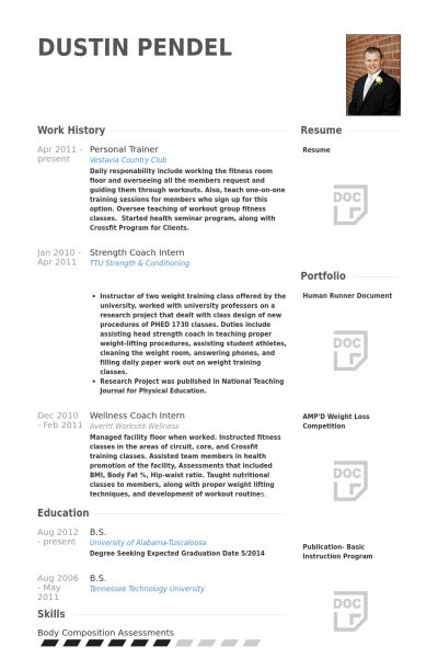 Personal Trainer Resume samples - VisualCV resume samples database