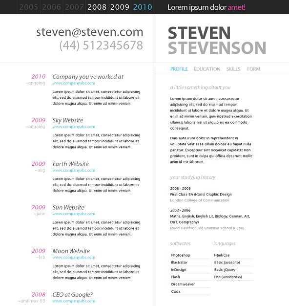 The Best Free & Premium CV & Resume Website Template | Evohosting