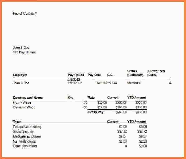 8+ microsoft excel pay stub template | Samples of Paystubs