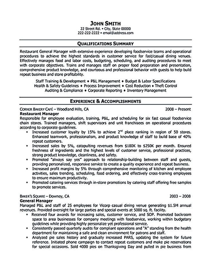 restaurant resume sample resume samples resume help resume ...