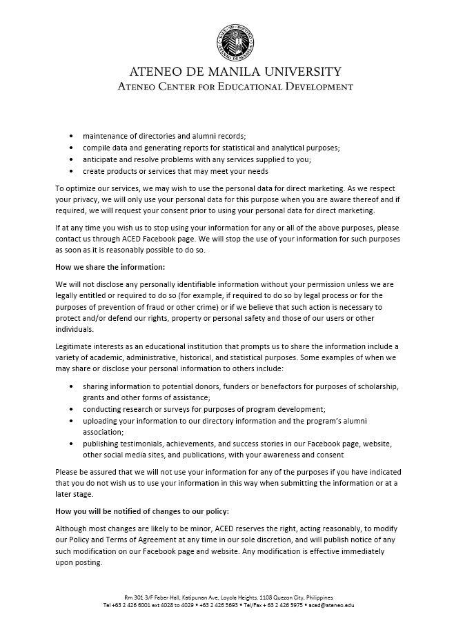 Privacy Policy | Ateneo de Manila University