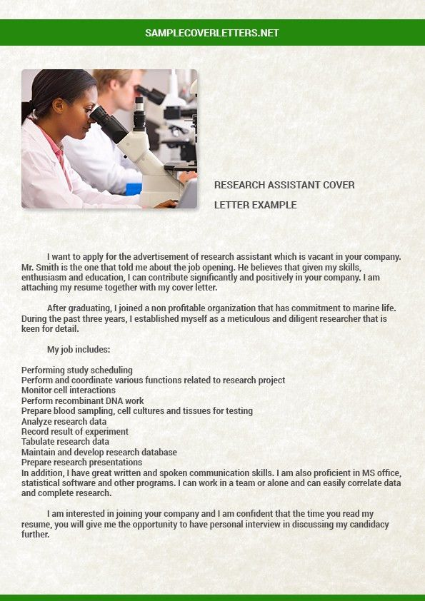 how to write a cover letter for a research assistant position ...