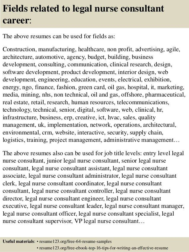 Top 8 legal nurse consultant resume samples