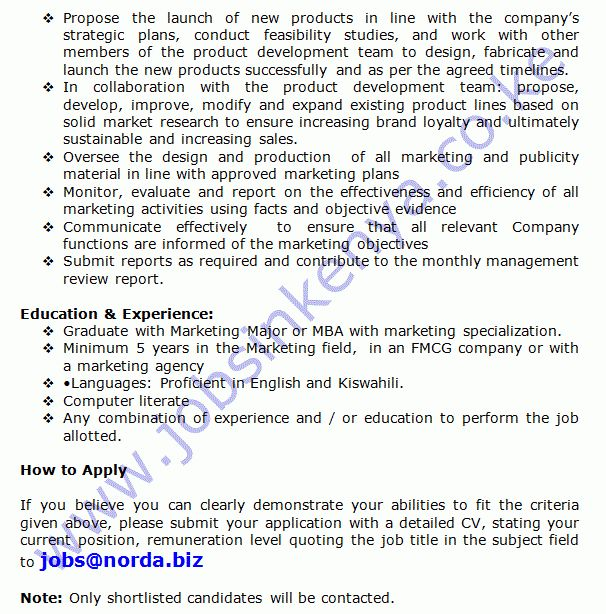 Norda Industries Marketing Manager Vacancy Re-Advertisement | Jobs ...