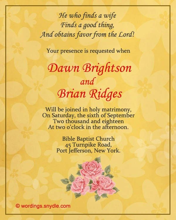 Christian Wedding Invitation Wording Samples - Wordings and Messages