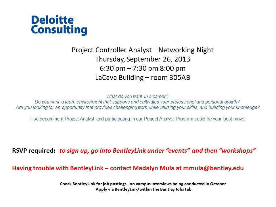 Deloitte Consulting – Project Controller Analyst Networking Night ...