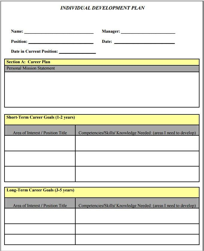 Free Personal Development Plan Template Sample Personal Development