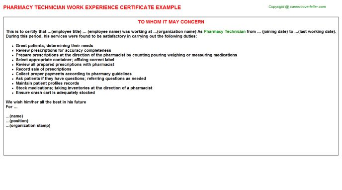 Pharmacy Technician Work Experience Certificate