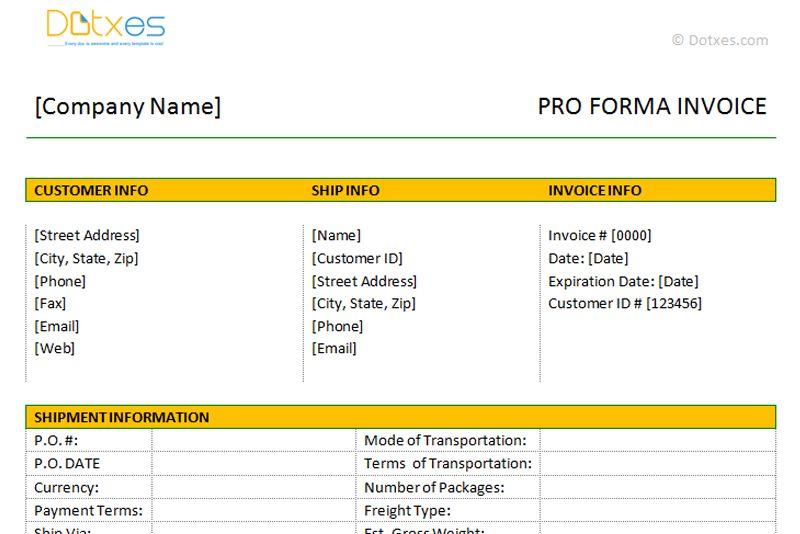 Proforma Invoice Template - Dotxes