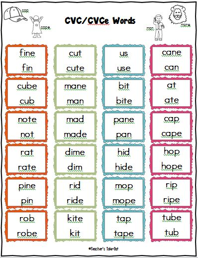 Freebie! cvce list of words to practice short and long vowel ...