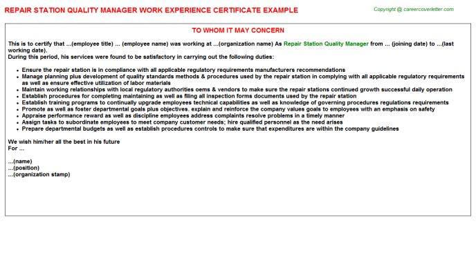 Quality Manager Automotive Industry Work Experience Letters