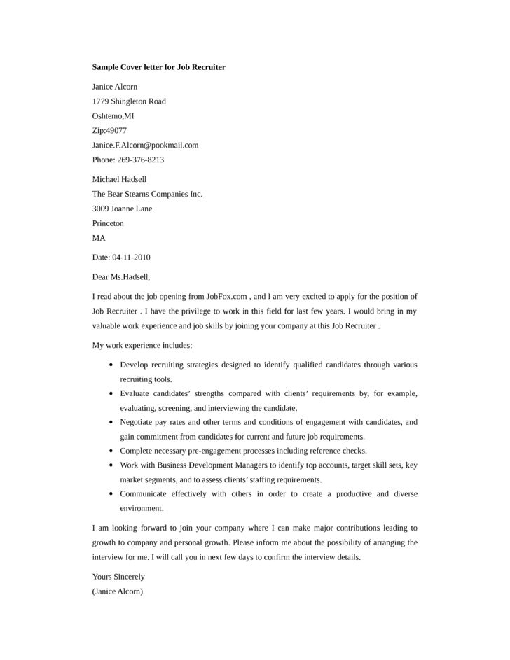 Job Recruiter Cover Letter Samples and Templates