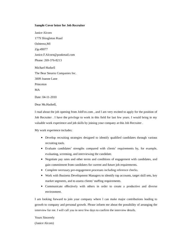 28+ Sample Cover Letter For Recruiter Job | Recruiter Cover Letter ...