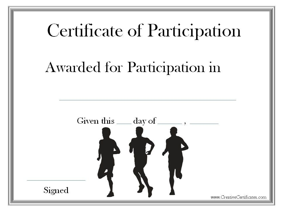 A certificate of participation for participating in a race or ...