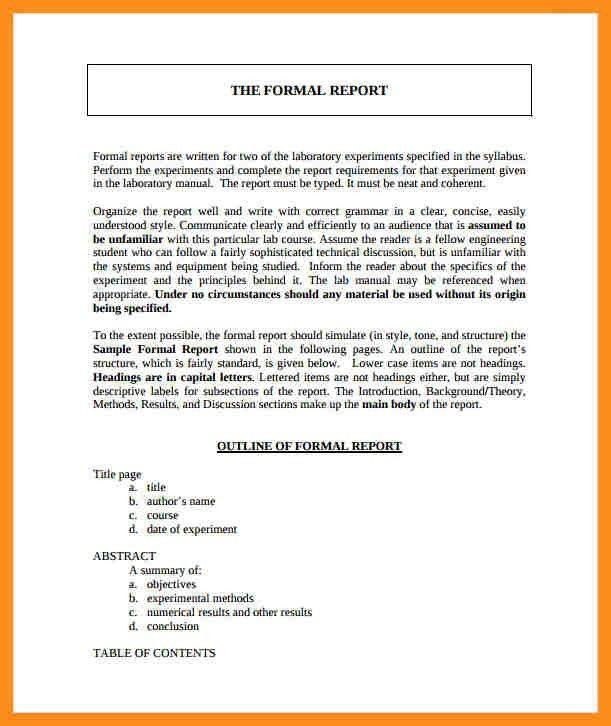 Formal Report Format Template. Scientific Data 7 Formal Lab Report .  Formal Reports Samples