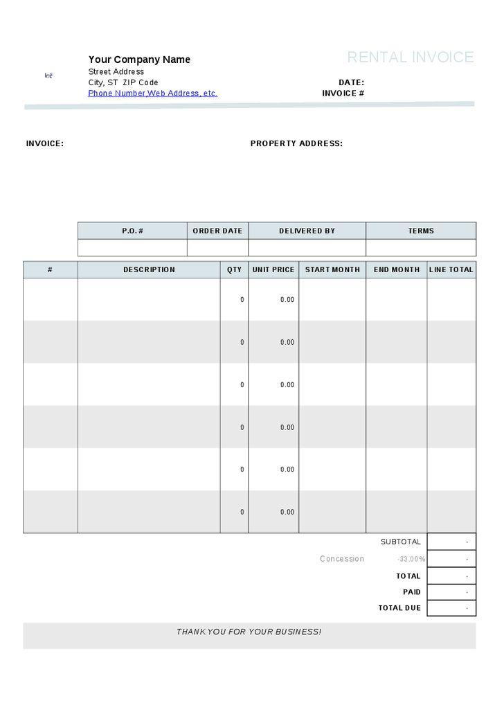 Download Invoice Template Rental Property | rabitah.net
