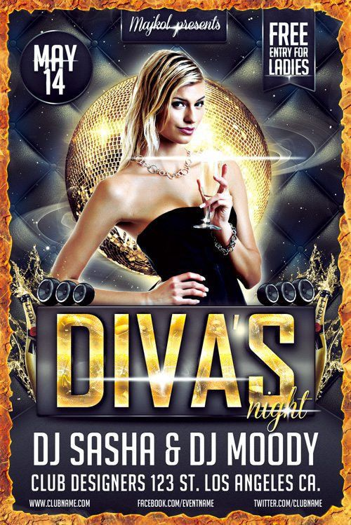 Download the Free Diva's Night Flyer Template Free PSD Download