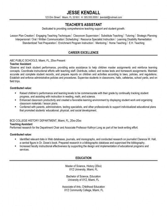 The Elegant Sample Resume Teacher Assistant | Resume Format Web