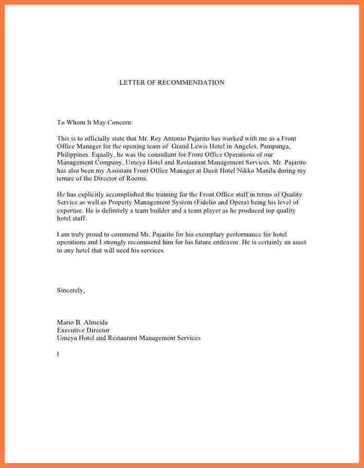 3+ recommendation letter for manager from employee sample | Appeal ...