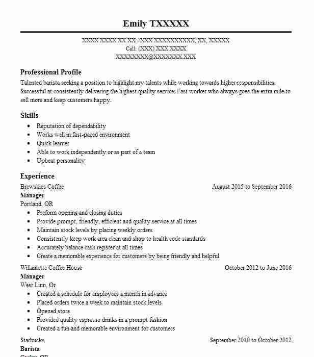 Sample Resume For Starbucks Barista | Create professional resumes ...