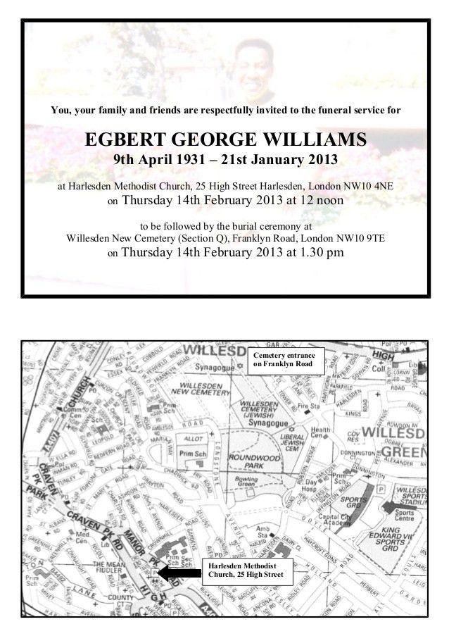 Mr Egbert George Williams: Invitation to Funeral & Interment: 14 Febr…