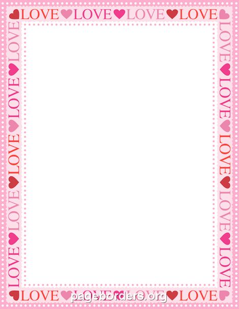 Printable love border. Use the border in Microsoft Word or other ...