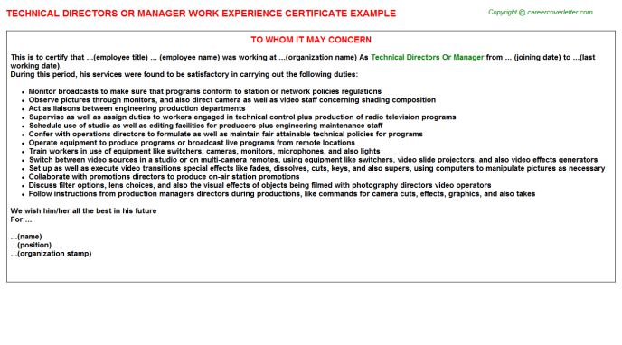Technical Directors Or Manager Work Experience Certificate