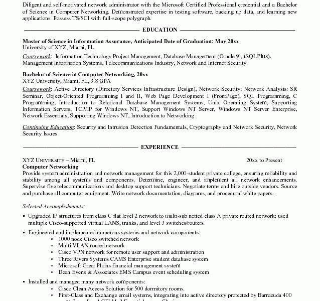 Network Admin Resume Samples. cisco certified network engineer ...