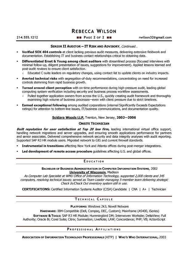 Senior IT Auditor - Compliance Sample Resume - Resume writer ...