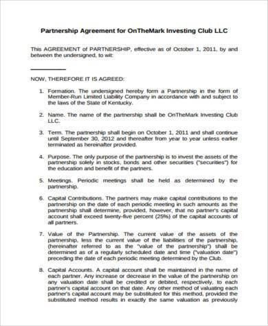 Sample Investment Club Agreement Forms - 7+ Free Documents in Word ...