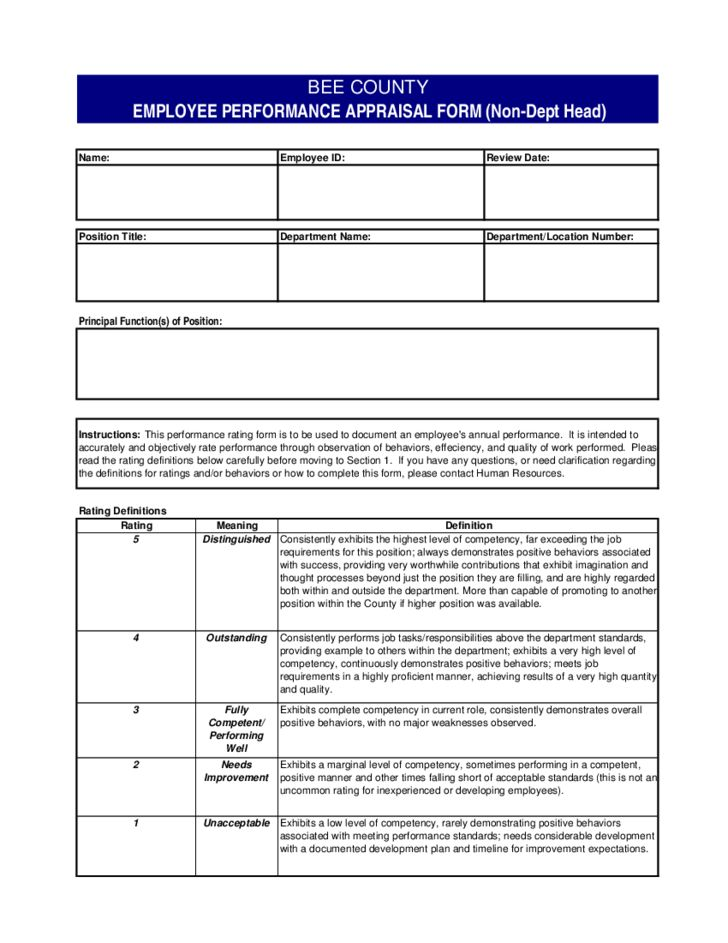 Employee Performance Evaluation Form- Texas Free Download