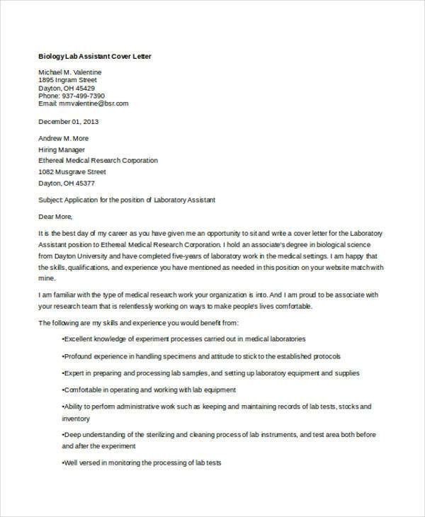 6+ Biology Cover Letters - Free Samples, Examples Format Download ...