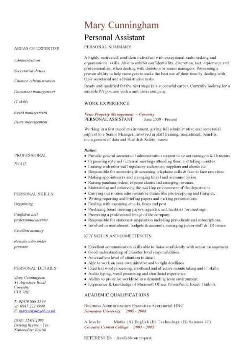 Example Of Personal Resume. Personal Care Assistant Resume Sample ...
