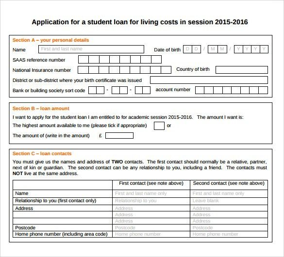 Sample Students Loan Application Form - 7+ Download Free Documents ...