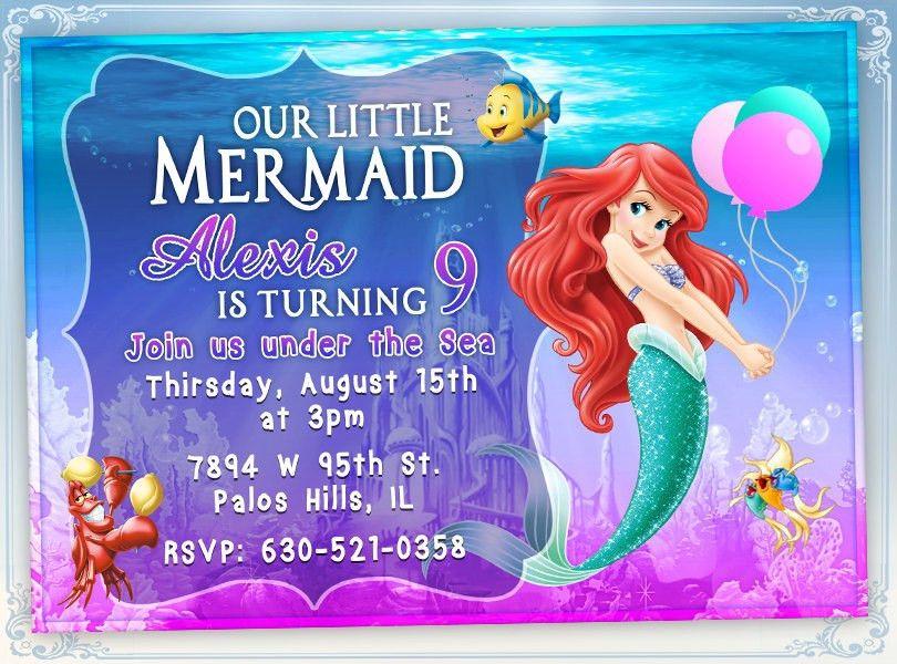 Little Mermaid Birthday Invitations | Card Invitation Templates