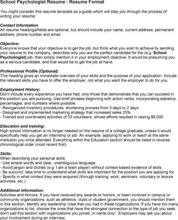 sample school psychologist resume school psychologist resume