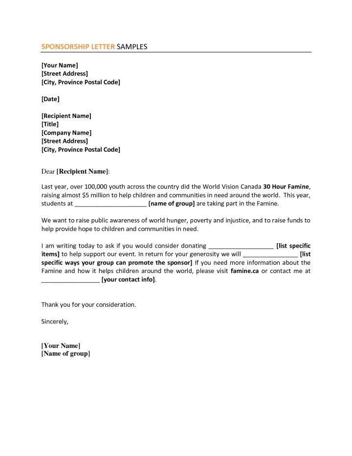 sponsorship sample letter | Docoments Ojazlink
