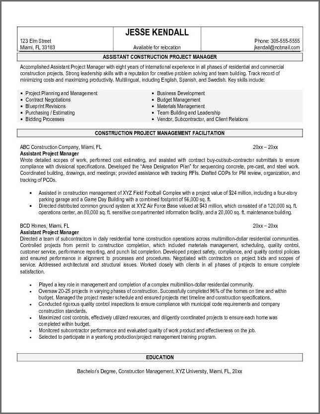 PROJECT MANAGER RESUME SAMPLE | Bidproposalform.com