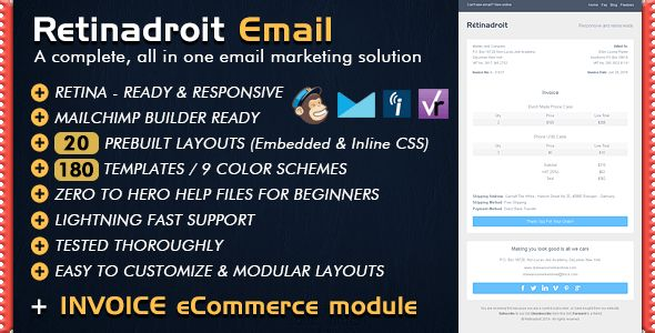 Responsive Email Template & Invoice Template - Mailchimp Email ...