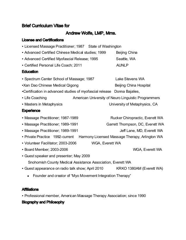 Brief curriculum vitae for Andrew Wolfe massage therapist