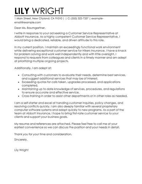 cover letter customer service representative customer service 463 ...