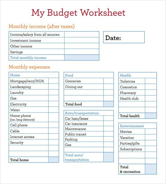 example budget sheet