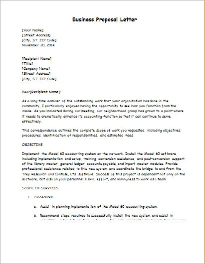 Business Proposal Letter Template | Word & Excel Templates