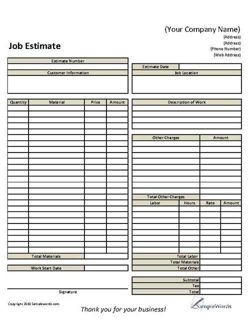 Basic Job Estimate Form